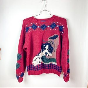 Vintage Woolrich Wool Puppy Knit Pullover Sweater
